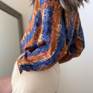 Vintage Tops - Vintage Patterned Silk Button Up Blouse Tunic